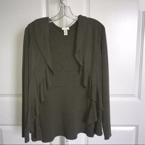 Chico's Green Ruffle Cardigan Sweater Size XL